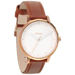 Nixon Damen Uhr Kensington Leather - Rose Gold / White  1