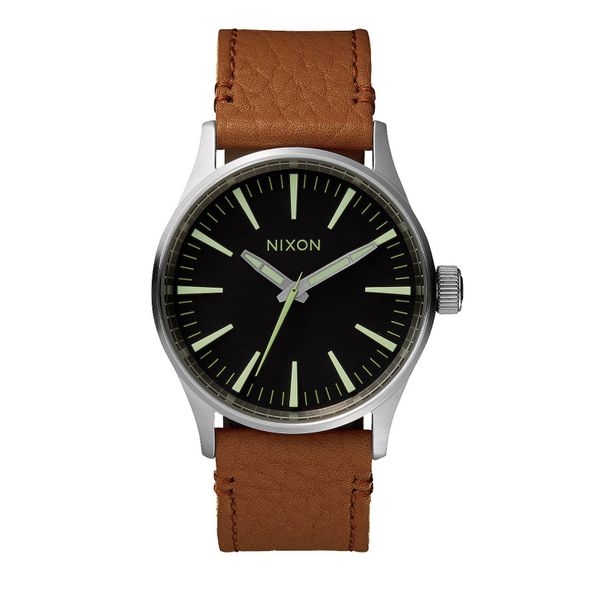 Nixon Herren Uhr Sentry 38 Leather - Black / Saddle