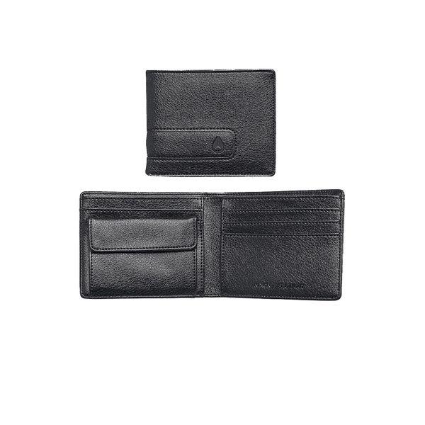 Nixon Herren Ledergeldbörse Showout Bi-Fold Snap Coin Wallet  - Black/Dark Grey