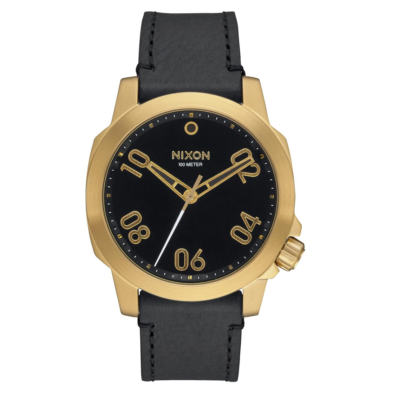 nixon herren uhr ranger 40 leather gold black. Black Bedroom Furniture Sets. Home Design Ideas