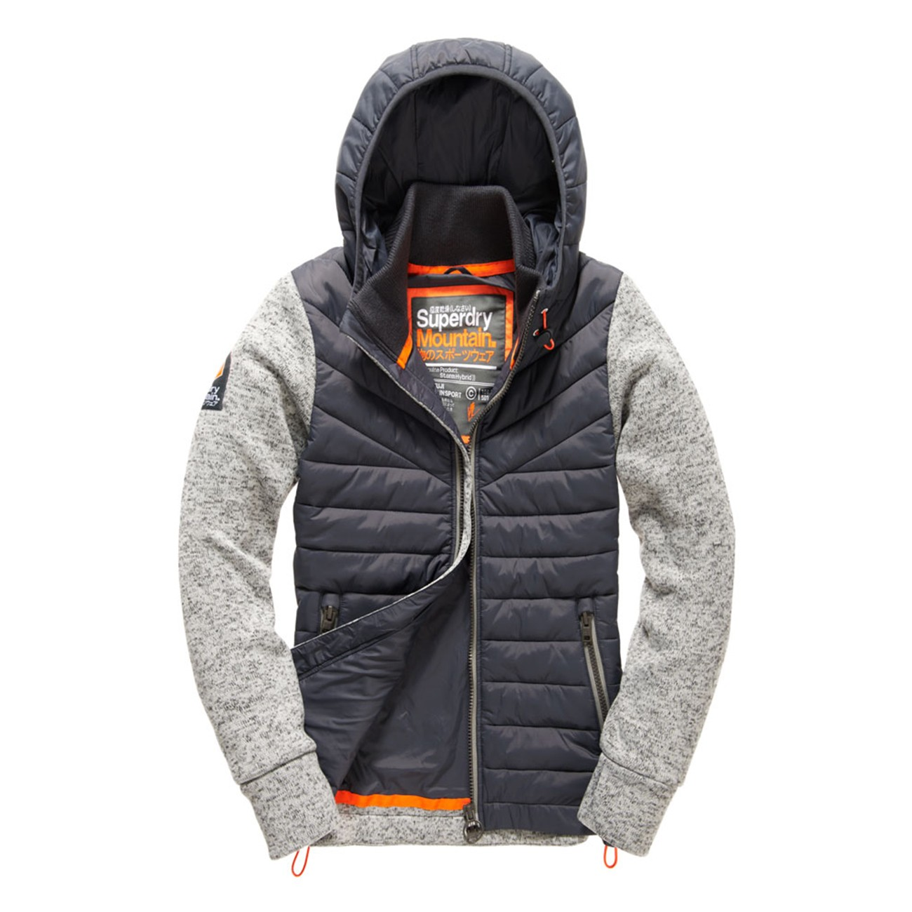 superdry herren hoodie storm hybrid ziphood grey grit ebay. Black Bedroom Furniture Sets. Home Design Ideas