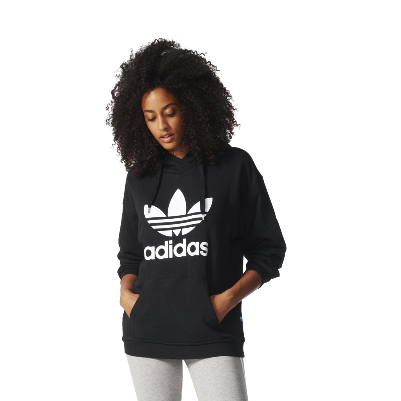 adidas originals trefoil hoodie black sweater grey. Black Bedroom Furniture Sets. Home Design Ideas