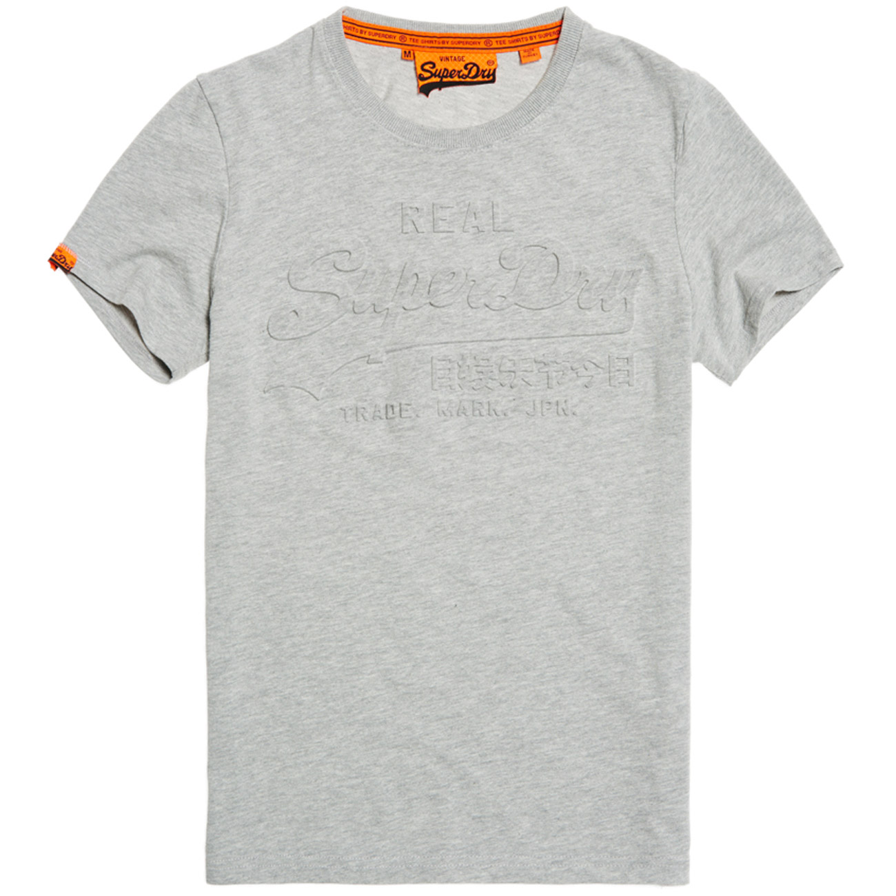 superdry herren t shirt vintage logo embossed tee grey marl. Black Bedroom Furniture Sets. Home Design Ideas