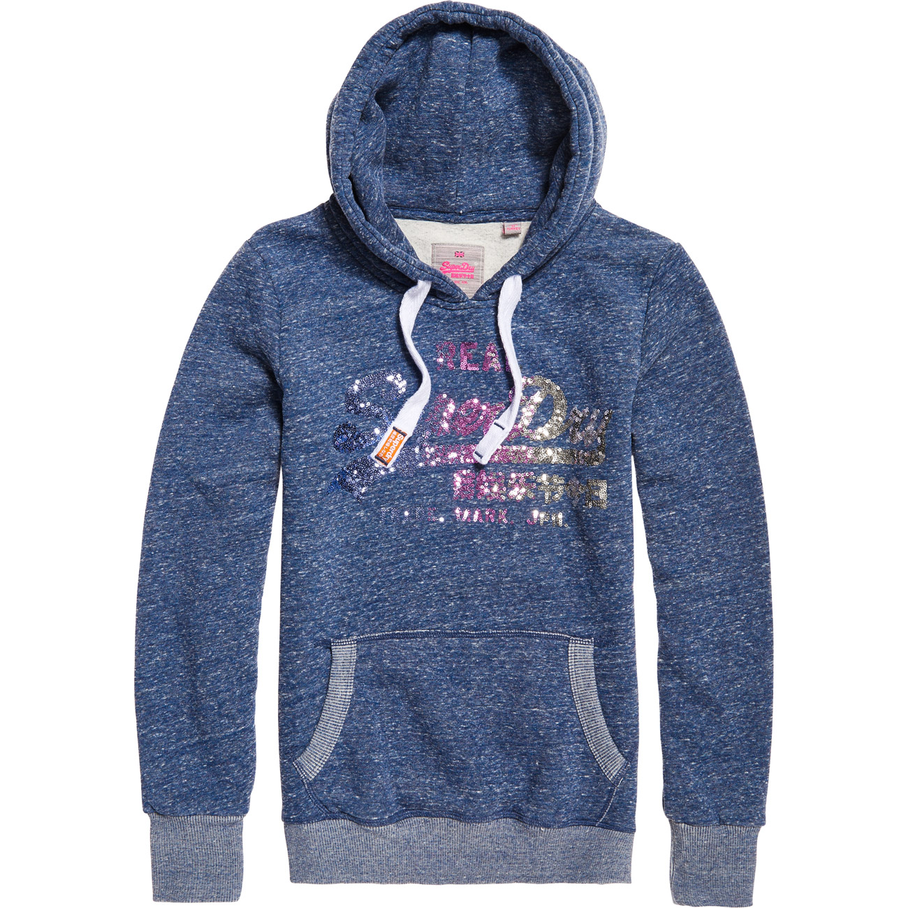 superdry damen hoodie vintage logo sequin entry hood. Black Bedroom Furniture Sets. Home Design Ideas